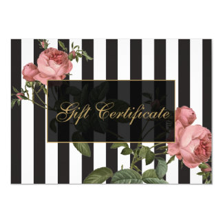 Vintage Floral Striped Salon Gift Certificate Card