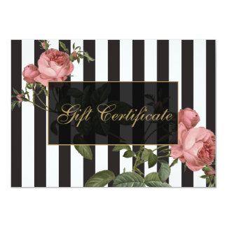 Vintage Floral Striped Salon Gift Certificate Custom Invitations