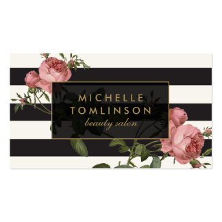 Vintage Floral Striped Salon II Black and Ivory Double-Sided Standard Business Cards (Pack Of 100)