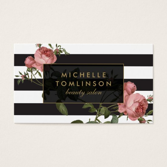 Vintage Floral Striped Salon II Business Card