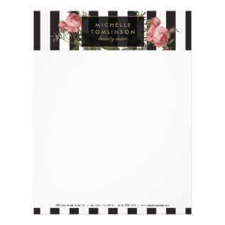 Vintage Floral Striped Salon Letterhead at Zazzle
