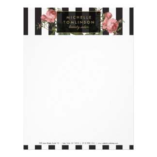 Vintage Floral Striped Salon Letterhead