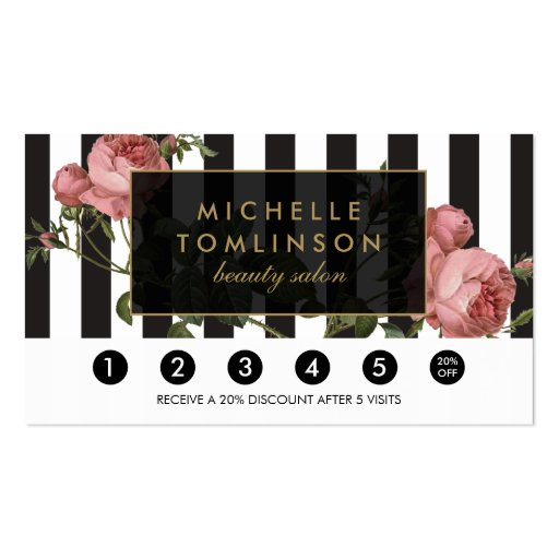 Vintage Floral Striped Salon Loyalty Card Double-sided Standard Business Cards (pack Of 100)