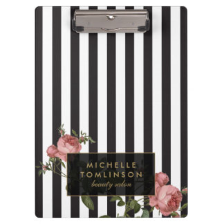 Vintage Floral Striped Salon Personalized Clipboard