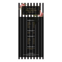 Vintage Floral Striped Salon Rack Card