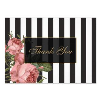 Vintage Floral Striped Salon Thank You Cards
