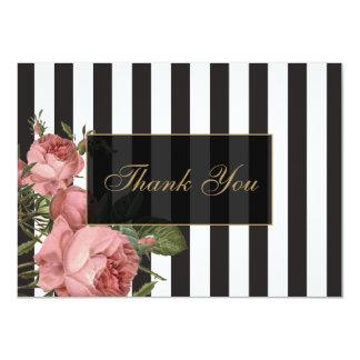"Vintage Floral Striped Salon Thank You Cards 4.5"" X 6.25"" Invitation Card"