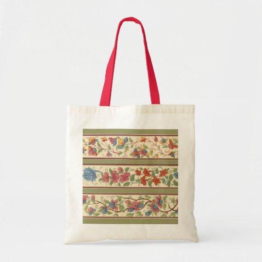 Vintage Floral Stripes Tote Bag
