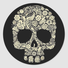 Vintage Floral Sugar Skull Classic Round Sticker at Zazzle