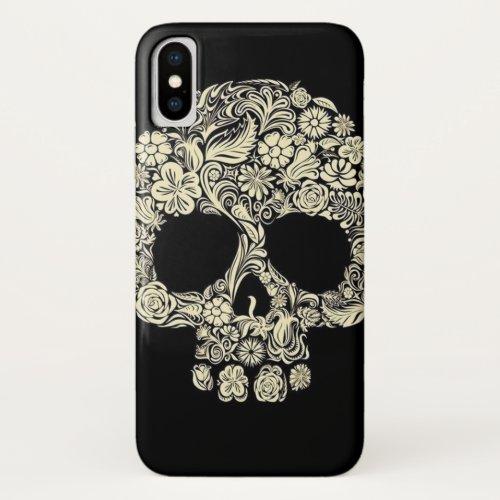 Vintage Floral Sugar Skull iPhone XS Case Phone Case