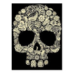 Vintage Floral Sugar Skull Postcard at Zazzle