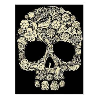 Vintage Floral Sugar Skull Postcard