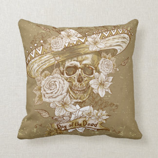 Vintage Floral Sugar Skull Throw Pillow
