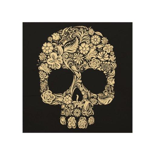Vintage Floral Sugar Skull Wood Wall Art   Zazzle