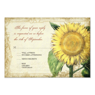 Vintage Floral Sunflowers - Autumn Fall Wedding 3.5x5 Paper Invitation Card