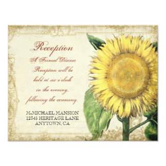 Vintage Floral Sunflowers - Autumn Fall Wedding 4.25x5.5 Paper Invitation Card