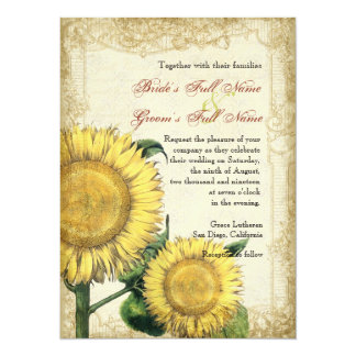 Vintage Floral Sunflowers - Autumn Fall Wedding 5.5x7.5 Paper Invitation Card