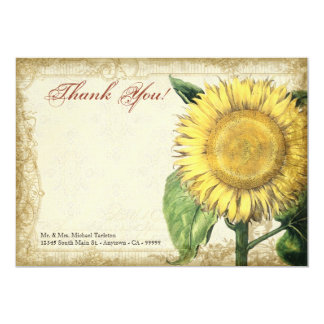 Vintage Floral Sunflowers - Autumn Fall Wedding 5x7 Paper Invitation Card