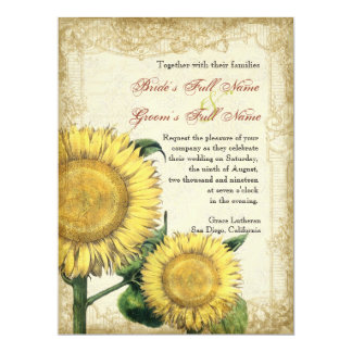 Vintage Floral Sunflowers - Autumn Fall Wedding 6.5x8.75 Paper Invitation Card