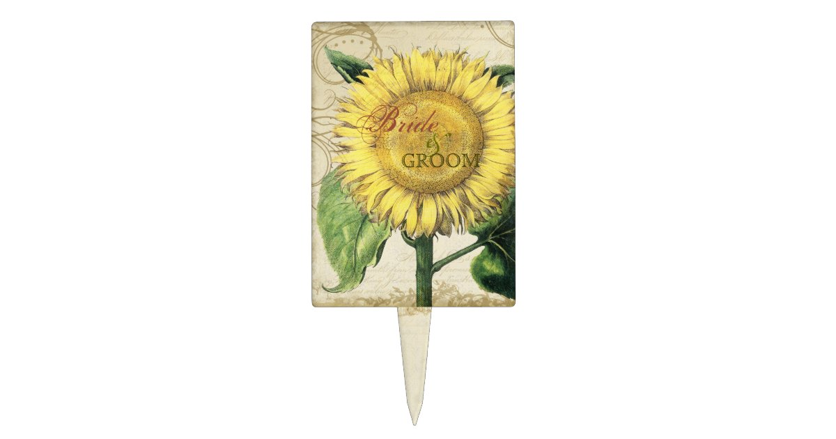 Vintage Floral Sunflowers - Autumn Fall Wedding Cake Topper | Zazzle.com