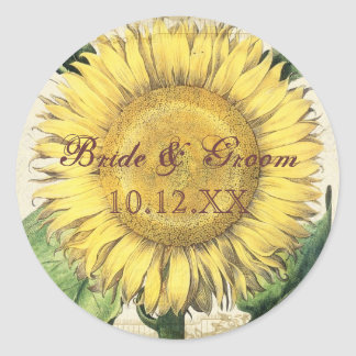 Vintage Floral Sunflowers - Autumn Fall Wedding Classic Round Sticker