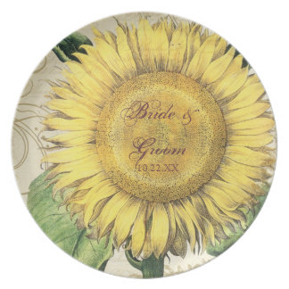 Vintage Floral Sunflowers - Autumn Fall Wedding Dinner Plate