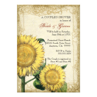 Vintage Floral Sunflowers - Autumn Fall Wedding Personalized Invitation