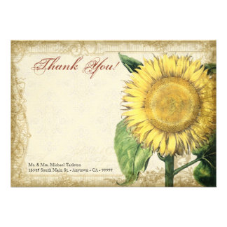 Vintage Floral Sunflowers - Autumn Fall Wedding Personalized Announcements