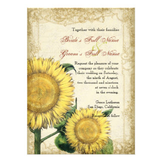 Vintage Floral Sunflowers - Autumn Fall Wedding Personalized Invites
