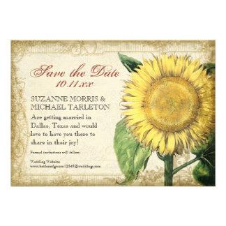 Vintage Floral Sunflowers - Autumn Fall Wedding Custom Invite