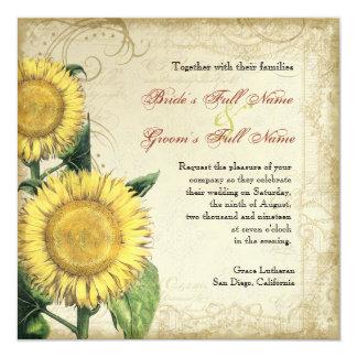 Vintage Floral Sunflowers - Autumn Fall Wedding Invitation