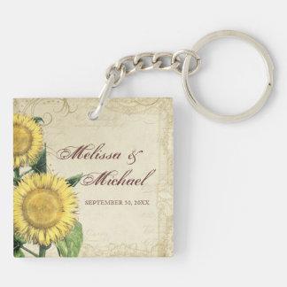 Vintage Floral Sunflowers - Autumn Fall Wedding Keychain