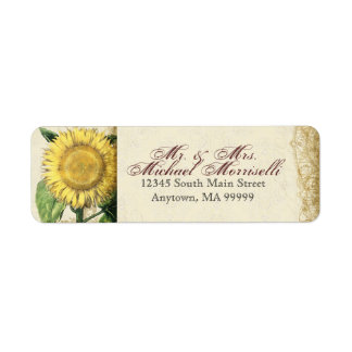 Vintage Floral Sunflowers - Autumn Fall Wedding Label