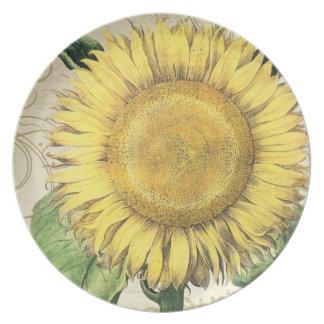 Vintage Floral Sunflowers - Autumn Fall Wedding Melamine Plate