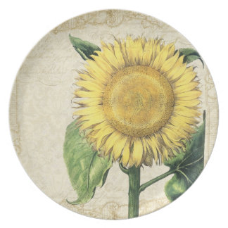Vintage Floral Sunflowers - Autumn Fall Wedding Plate