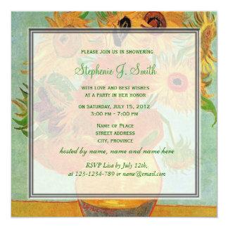Vintage floral sunflowers bridal shower invitation custom invitation