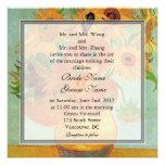 Vintage floral sunflowers wedding invitation custom announcements
