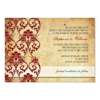 Vintage Floral Swirl Burgundy Wedding Invitation