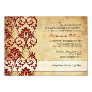 Vintage Floral Swirl Burgundy Wedding Invitation
