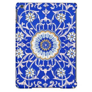 Vintage Floral Swirls Against Cornflower Blue iPad Air Cover