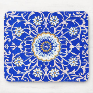 Vintage Floral Swirls Against Cornflower Blue Mouse Pad