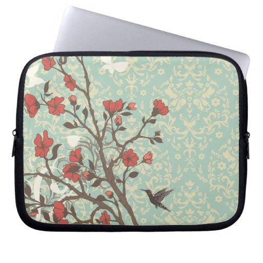 Vintage floral swirls damask + bird laptop sleeve