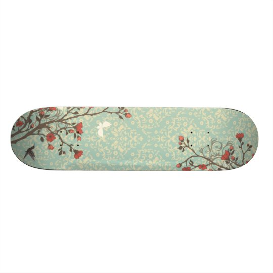 Vintage floral swirls damask + bird skateboard