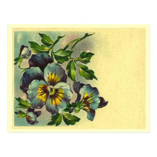 Vintage floral tarjeta postal