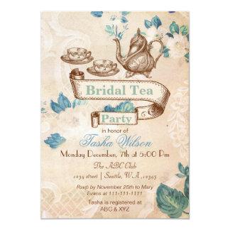 "vintage floral tea party Bridal Shower Invites 5"" X 7"" Invitation Card"