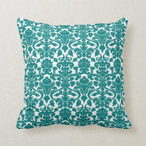 Vintage Floral Teal Damask Pillow