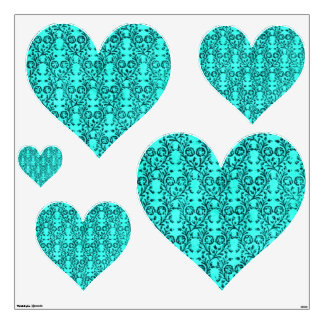 Vintage Floral Teal Turquoise Wall Decal