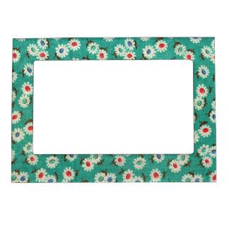 Vintage Floral Textures Magnetic Picture Frame