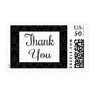Vintage Floral Thank you Black And Gray Damask Postage