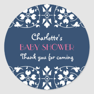 Vintage Floral Thank You Sticker in Navy Blue